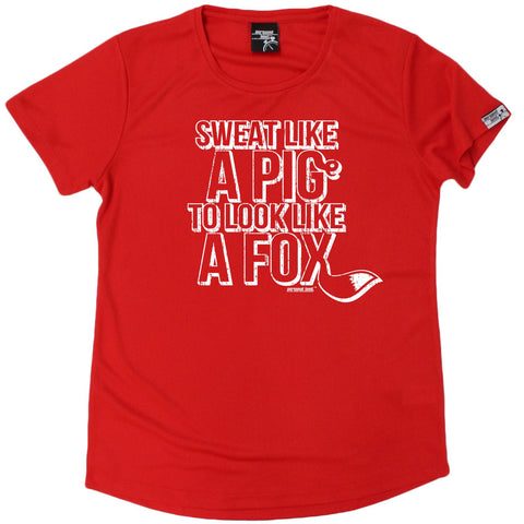 Women's Personal Best - Sweat Like A Pig To Look Like A Fox - Premium Dry Fit Breathable Sports ROUND NECK T-SHIRT - Running jogging fitness gym tee top t shirt fashion clothing accessories