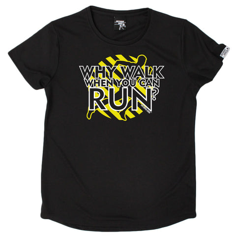 Women's Personal Best - Why Walk When You Can Run - Premium Dry Fit Breathable Sports ROUND NECK T-SHIRT - Running jogging fitness gym tee top t shirt fashion clothing accessories