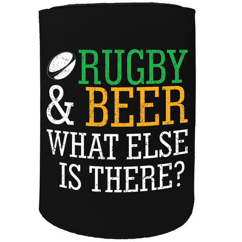 123t Stubby Holder - Rugby And Beer What Else Is There - Funny Novelty Birthday Gift Joke Beer
