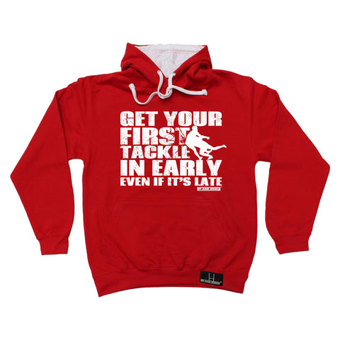Up And Under Get Your First Tackle In Early Late Rugby Hoodie