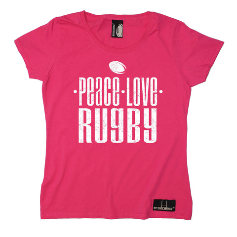 Up And Under Women's Peace Love Rugby T-Shirt
