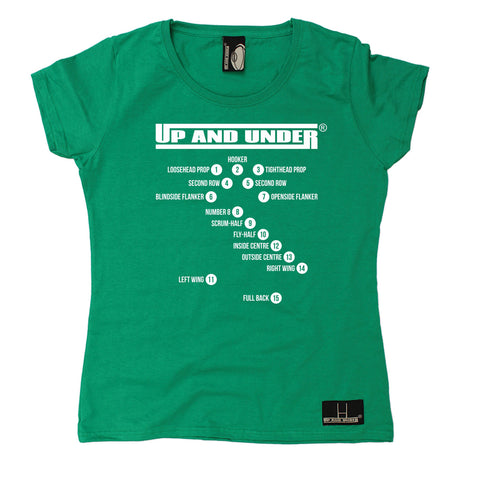 Up And Under Women's Rugby Positions T-Shirt