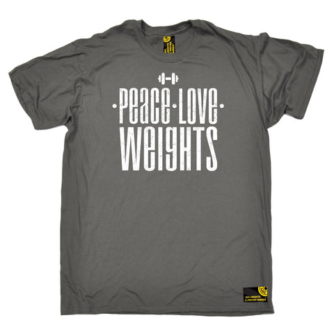 SWPS Men's Peace Love Weights Sex Weights And Protein Shakes Gym T-Shirt