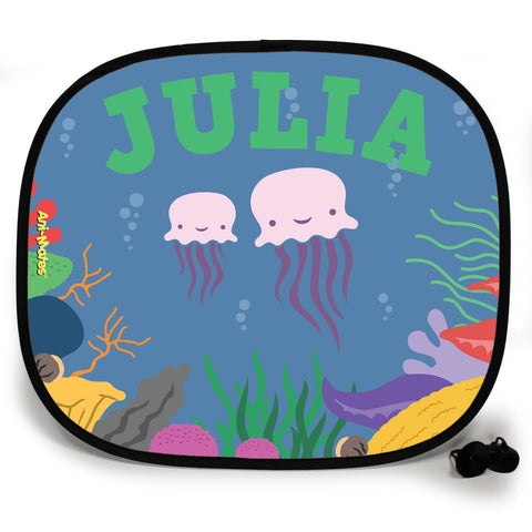 Ani-Mates Under The Sea Jellyfish Personalised UV Protection Fun Vehicle Interior Window Car Sunshade