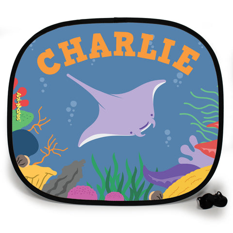 Ani-Mates Under The Sea Manta Ray Personalised UV Protection Fun Vehicle Interior Window Car Sunshade