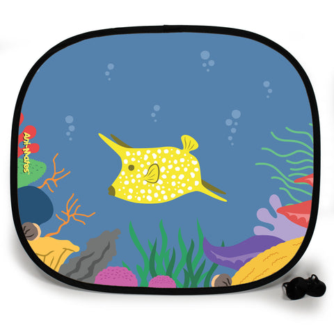 Ani-Mates Under The Sea Cow Fish Personalised UV Protection Fun Vehicle Interior Window Car Sunshade