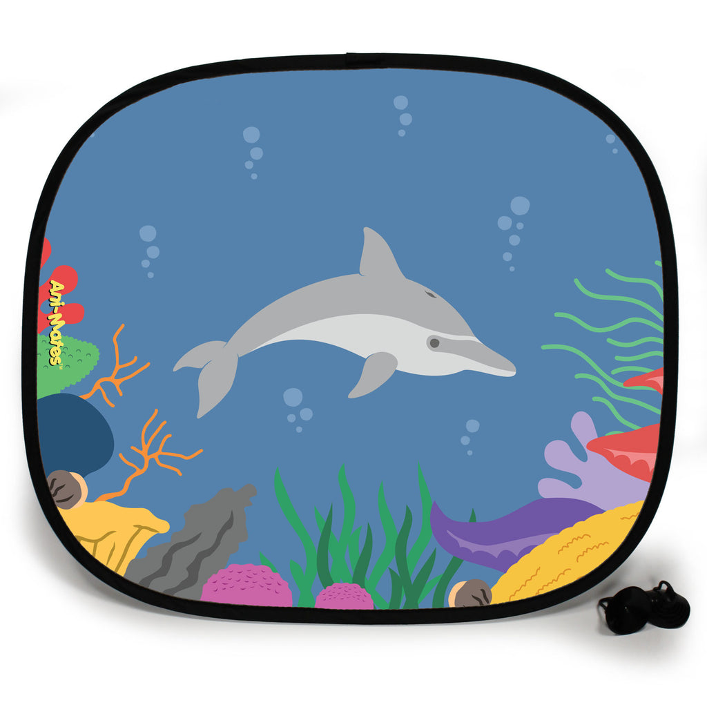 Ani-Mates Under The Sea Dolphin Personalised UV Protection Fun Vehicle Interior Window Car Sunshade
