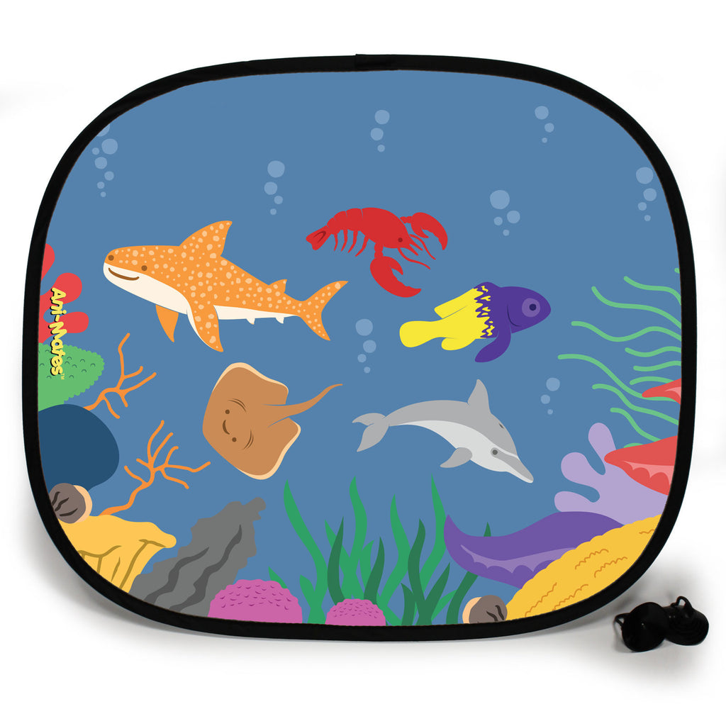 Ani-Mates Under The Sea Shark Party Personalised UV Protection Fun Vehicle Interior Window Car Sunshade