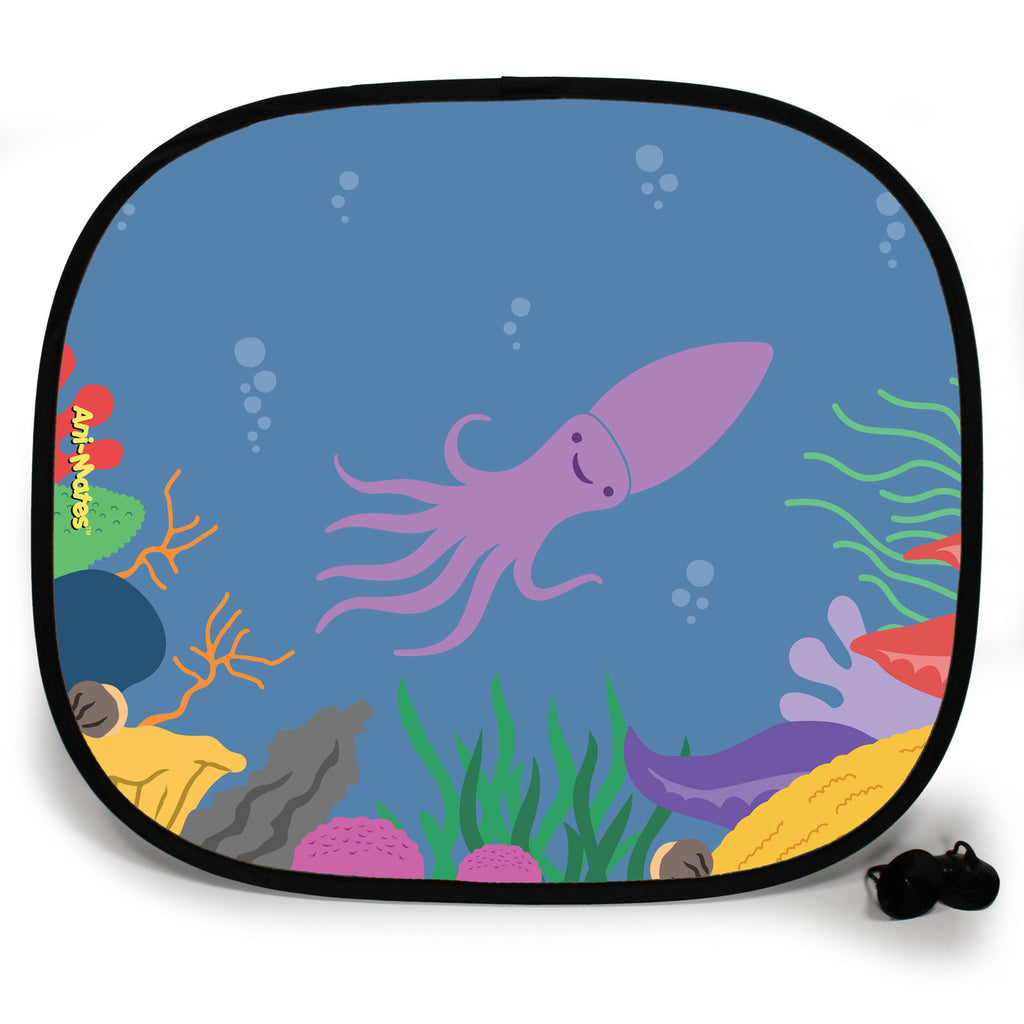 Ani-Mates Under The Sea Squid Personalised UV Protection Fun Vehicle Interior Window Car Sunshade