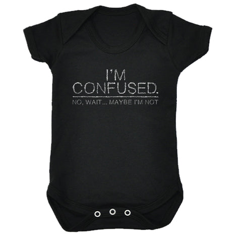 123t Baby I'm Confused Wait Maybe I'm Not Funny Babygrow - 123t clothing gifts presents
