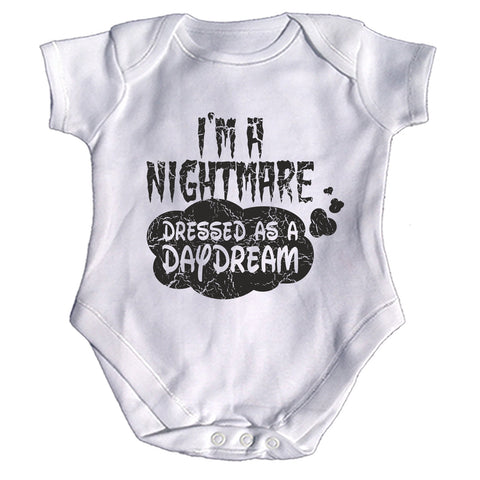 123t Baby I'm A Nightmare Dressed As A Daydream Funny Babygrow - 123t clothing gifts presents