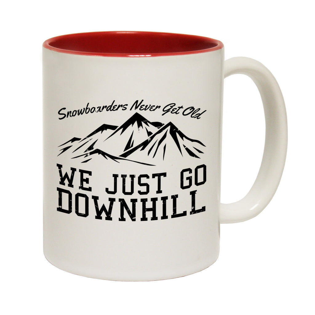 Powder Monkeez Snowboarders ... Old ... Downhill Funny Snowboarding Mug