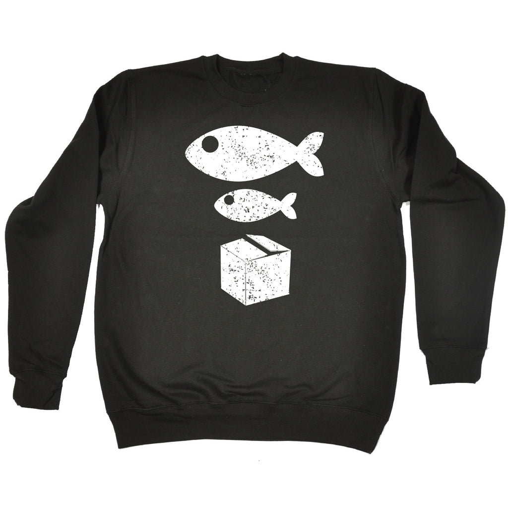 123t Big Fish Little Fish Cardboard Box Funny Sweatshirt