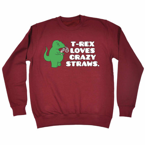 123t T -Rex Loves Crazy Straws Funny Sweatshirt, 123t
