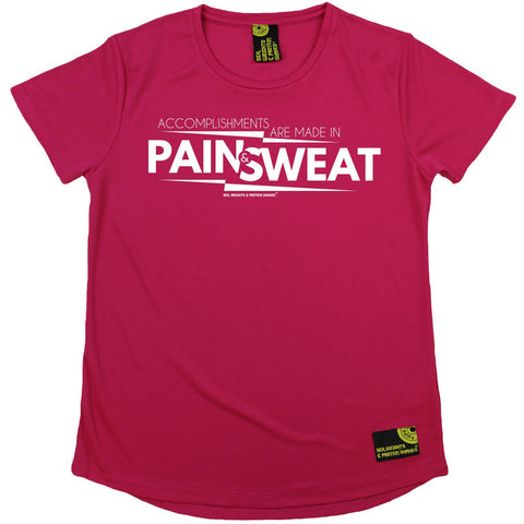 Women's Sex Weights and Protein Shakes - Accomplishments Pain And Sweat - Premium Dry Fit Breathable Sports ROUND NECK T-SHIRT