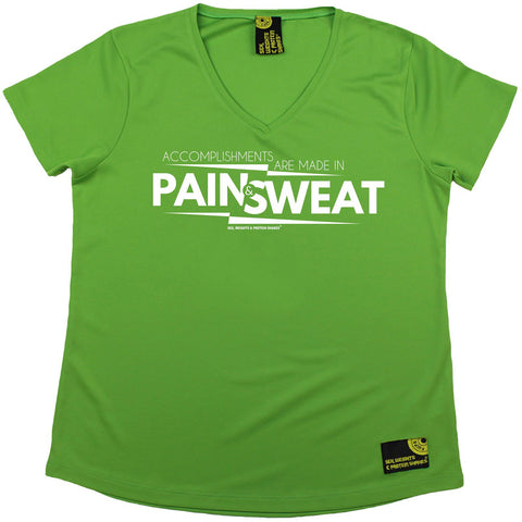 Women's Sex Weights and Protein Shakes - Accomplishments Pain And Sweat - Premium Dry Fit Breathable Sports V-Neck T-SHIRT