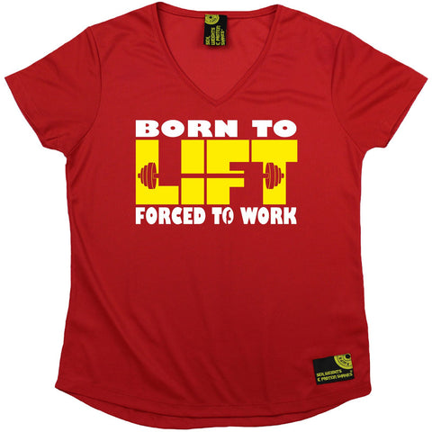 Women's Sex Weights and Protein Shakes - Born To Lift Forced To Work - Premium Dry Fit Breathable Sports V-Neck T-SHIRT