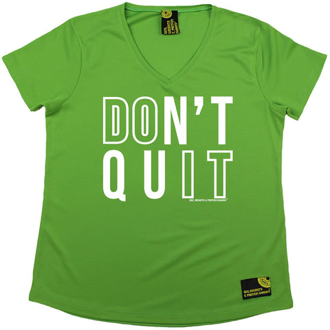 Women's Sex Weights and Protein Shakes - Dont Quit - Premium Dry Fit Breathable Sports V-Neck T-SHIRT