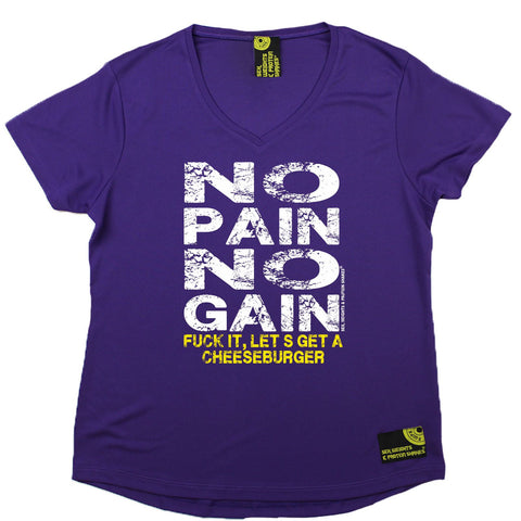 Women's SWPS - No Pain No Gain Cheeseburger - Dry Fit Breathable Sports V-Neck T-SHIRT