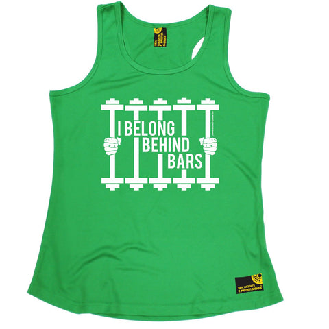 SWPS I Belong Behind Bars Sex Weights And Protein Shakes Gym Girlie Training Vest