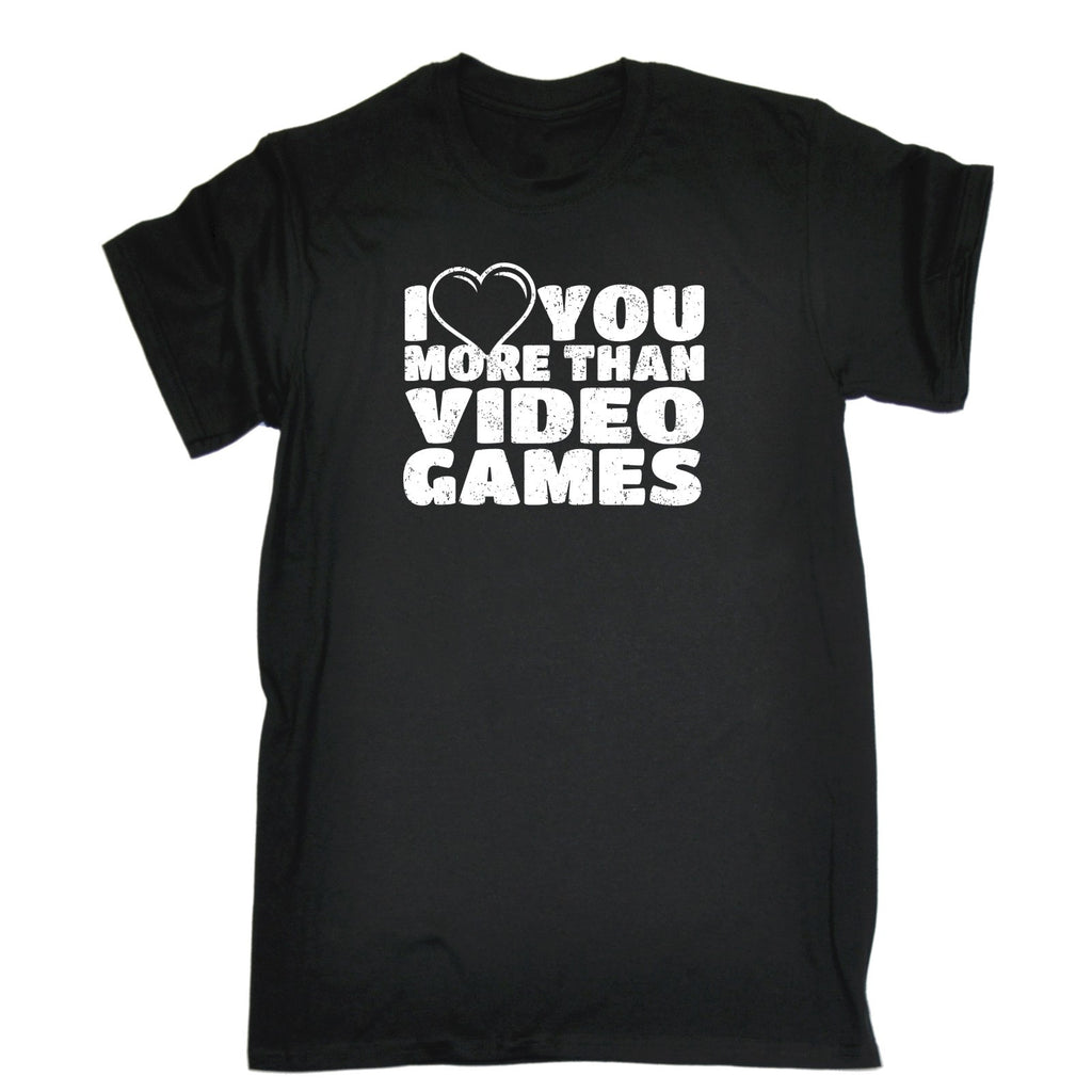 123t Men's I Love You More Than Video Games Heart Design Funny T-Shirt