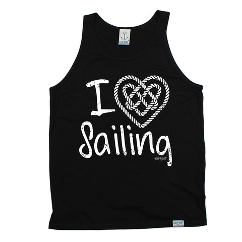 Ocean Bound I Love Sailing Knot Heart Design Sailing Vest Top