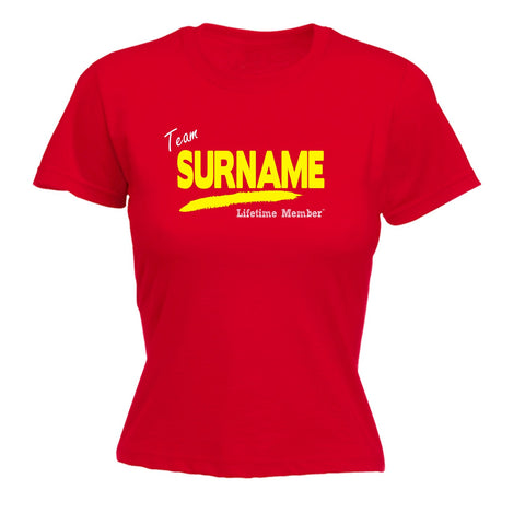 123t Women's Team 'Any Surname' Lifetime Member Funny T-Shirt