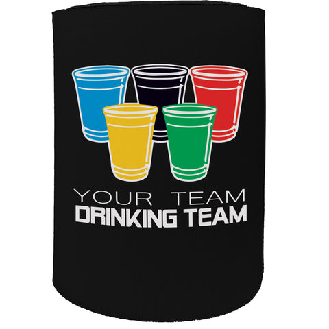 123t Stubby Holder - Team Drinking Team Personalised Country - Funny Novelty Birthday Gift Joke Beer