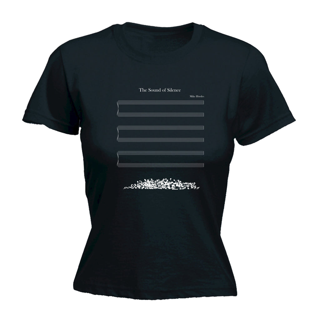 123t Women's The Sound Of Silence Musical Notes Fallen Off Design Funny T-Shirt