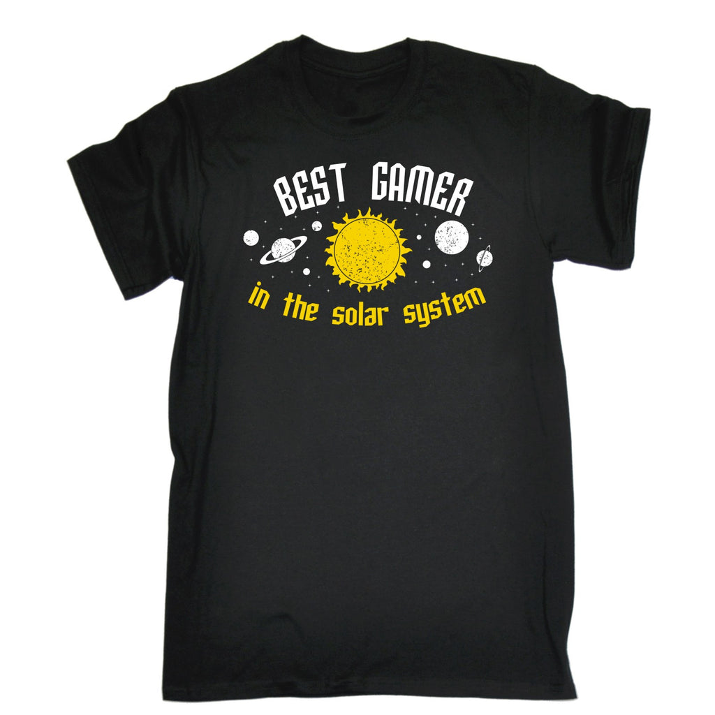 123t Men's Best Gamer In The Solar System Galaxy Design Funny T-Shirt