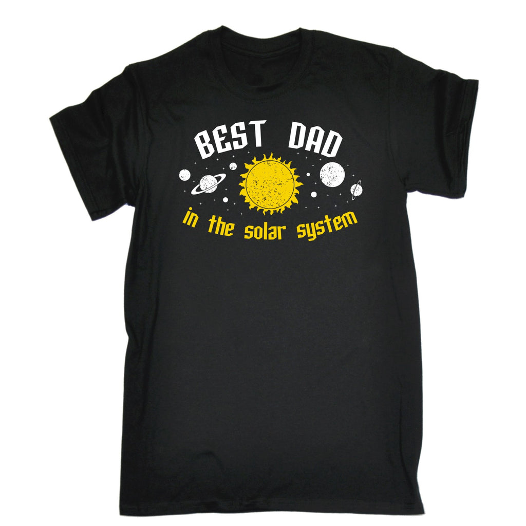 123t Men's Best Dad In The Solar System Galaxy Design Funny T-Shirt
