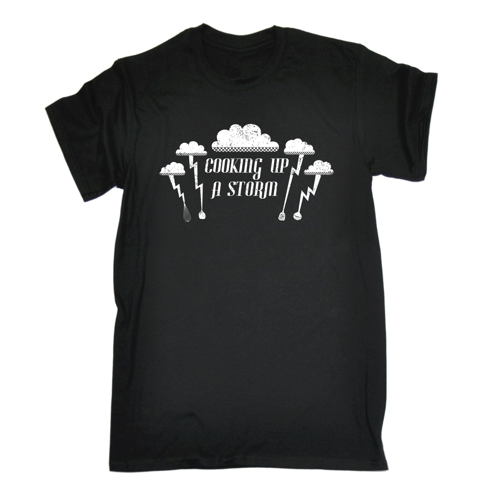 ce428b5e7 123t Men's Cooking Up A Storm Lightning Cloud Design Funny T-Shirt