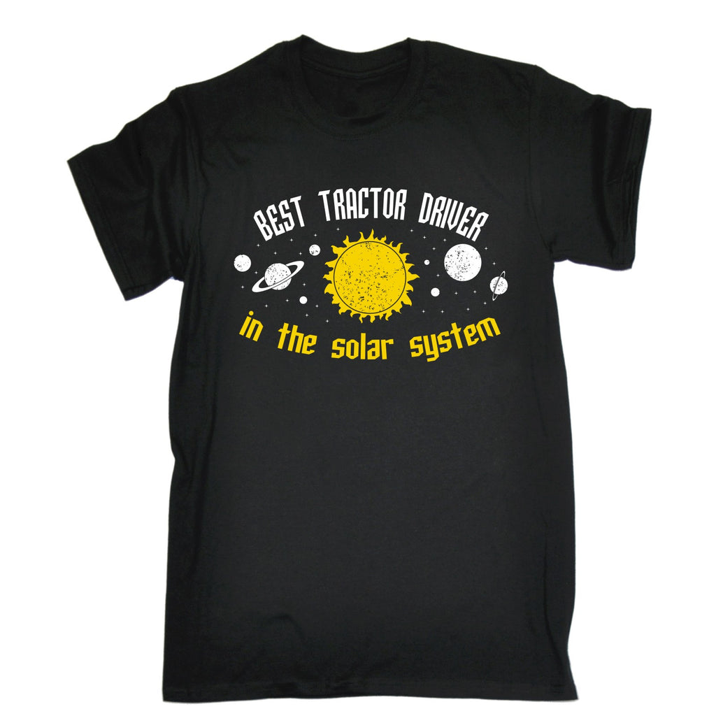 123t Men's Best Tractor Driver In The Solar System Galaxy Design Funny T-Shirt