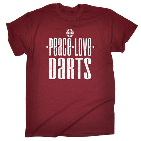 123t Men's Peace Love Darts Funny T-Shirt