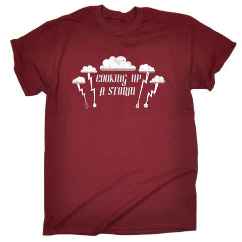 123t Men's Cooking Up A Storm Lightning Cloud Design Funny T-Shirt