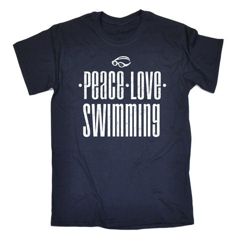 123t Men's Peace Love Swimming Funny T-Shirt