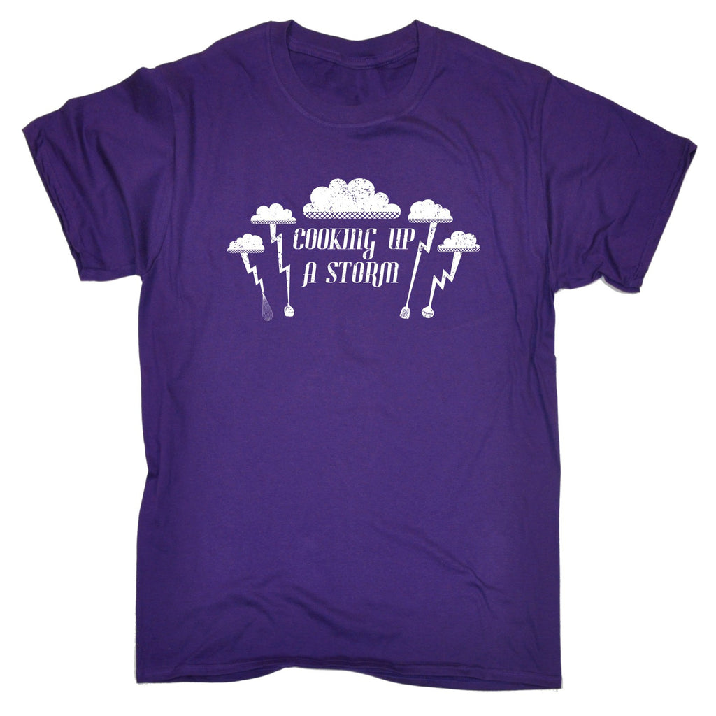 0886d8ba9 ... 123t Men's Cooking Up A Storm Lightning Cloud Design Funny T-Shirt ...