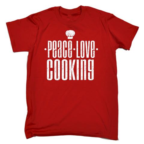 123t Men's Peace Love Cooking Funny T-Shirt