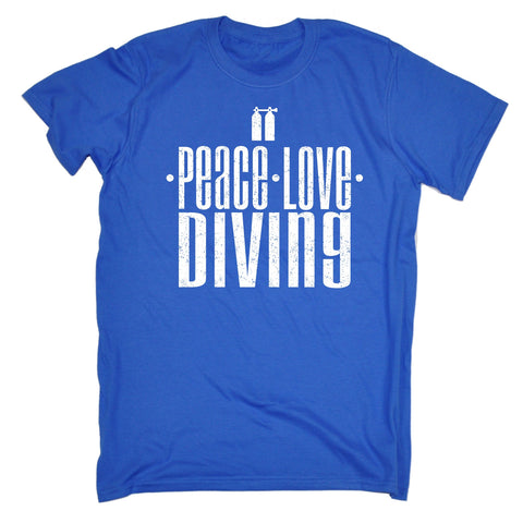 123t Men's Peace Love Diving Funny T-Shirt