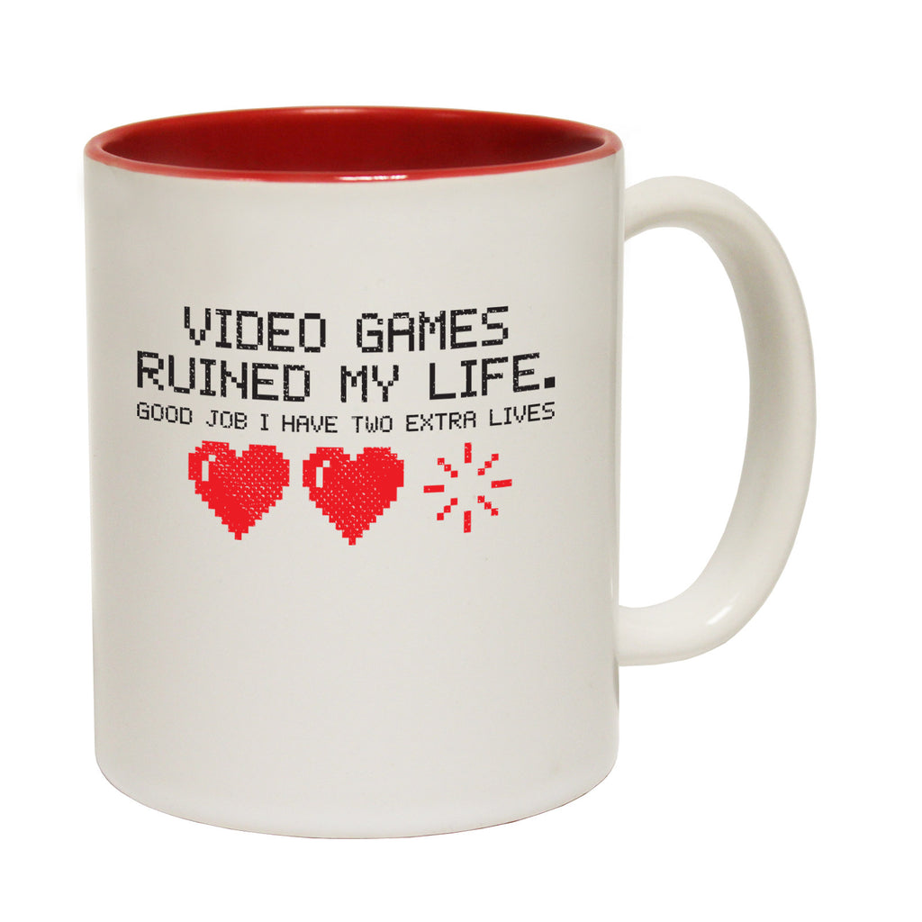 123t Video Games Ruined My Life ... Good Job I Have Two Extra Lives Funny Mug