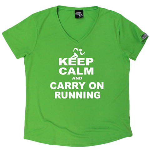 Women's Personal Best - Keep Calm And Run - Premium Dry Fit Breathable Sports V-Neck T-SHIRT - Running jogging fitness gym tee top t shirt fashion clothing accessories