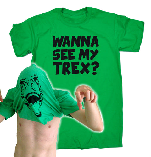 123t Men's Wanna See My T-Rex Funny T-Shirt