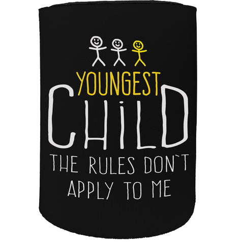 123t Stubby Holder - Youngest Child Rules 3 - Funny Novelty Birthday Gift Joke Beer Can Bottle