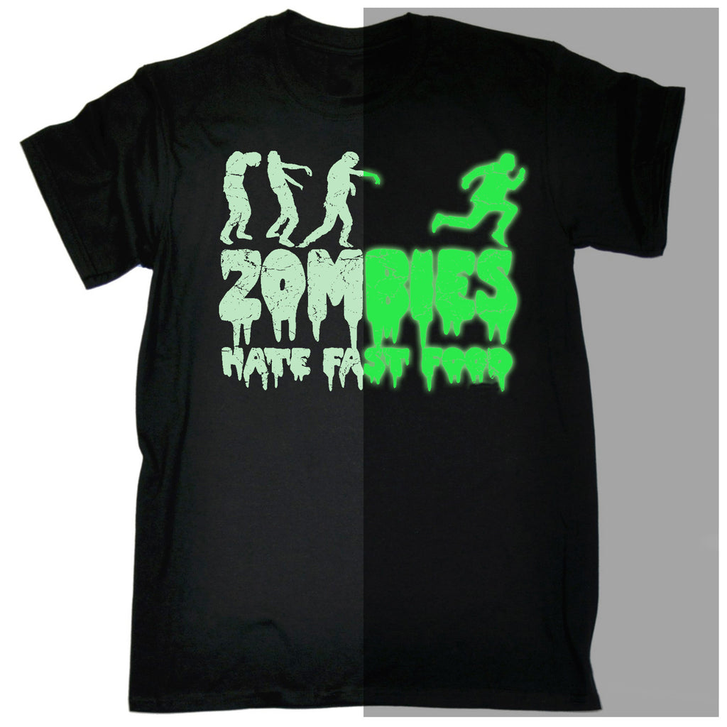 123t Men's Glow In The Dark Zombies Hate Fast Food-T Shirt