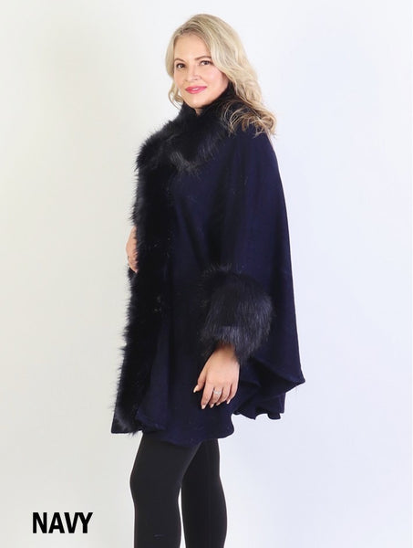Faux Fur Trim Shawl or Cape