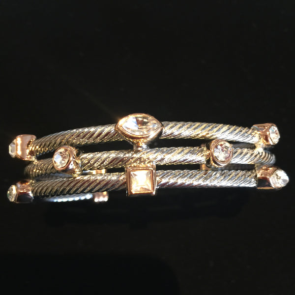 Two Tone Triple Stand Bracelet with Rose Gold