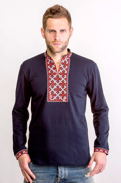 Men's Black Vyshyvanka Embroidered shirt