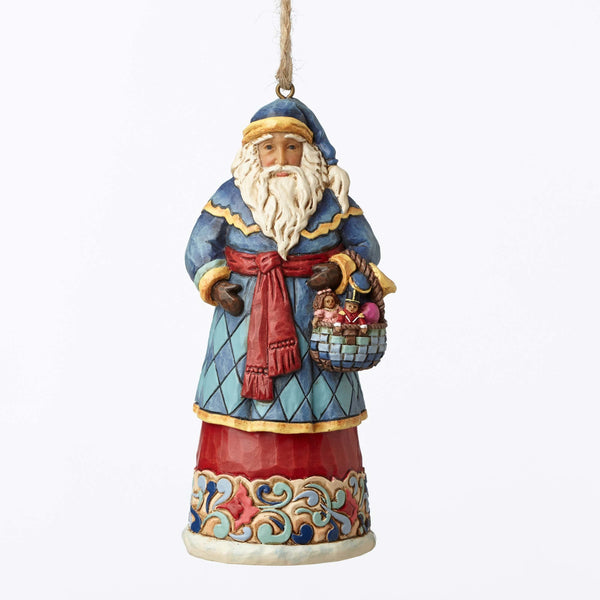 Santa with Basket Hanging Ornament