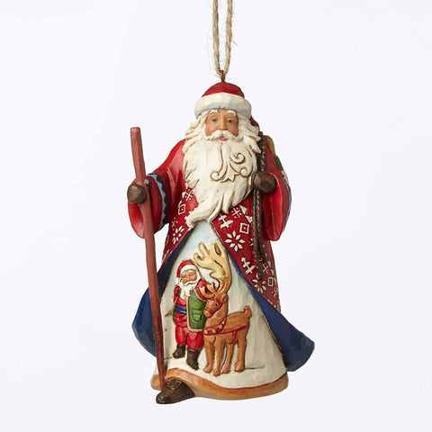 Lapland Red and Blue Santa Hanging Ornament