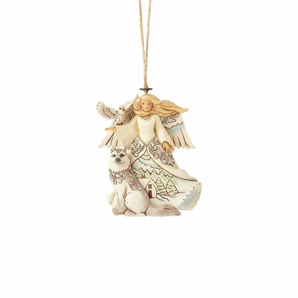 White Woodland Angel with Husky Hanging Ornament